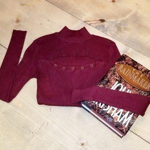 Wine Cut Out Turleneck Sweater